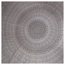 """Hand Crocheted 60"""" Across Round Table Cloth Pineapple Pattern"""