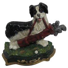 Doorstop Dog with Golf Clubs