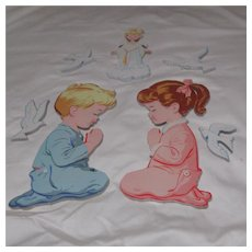 The Dolly Toy Company Wall Hanging 7 Piece Set Children, Angel & Doves