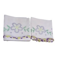 Pair of Pale Pink Pillow Cases with Embroidered Flowers Crocheted Edging