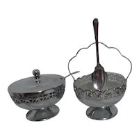 Chrome Set of Jam & Jelly Bowls with Spoons Glass Insert