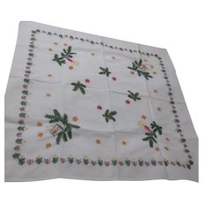 Embroidered Square Christmas Tablecloth