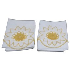 Pair of Pillow Cases with Crocheted Flower and Edging