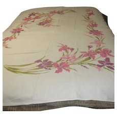 Large Linen Tablecloth with Silk Screened Flowers