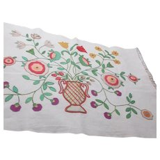 Wall Hanging or Table Cover Applique and Embroidery Flowers