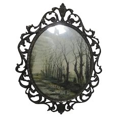 Ornate Metal Frame from Italy with Castle Scene