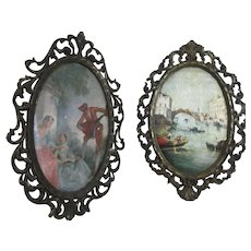 Pair of Metal Frames with Prints One Marked Italy