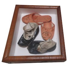 Two Pair Children's Shoes in Box Frame for Hanging
