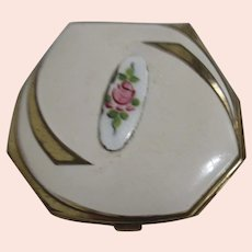 Elgina Guilloche Compact with Rose Enamel Decoration