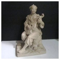 Vintage Clay Sculpture of Oriental Man Playing a Viola Signed Liao