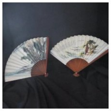 Vintage Hand Painted Oriental Fans