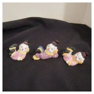 Set of 3 Vintage Small Clowns