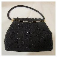 Vintage Beaded Black Purse/Evening Bag
