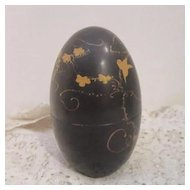 Vintage Black Egg/Box with Gold Flowers and Bird