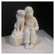"Vintage Clay Seated Boy with Dog ""Bright Eyes"" by Austin"