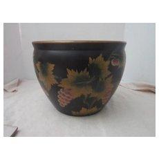 Vintage Flower Pot Black with Golden Leaves