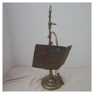Antique Whale Oil Lamp with Reflector and Attached Accessories