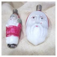 Pair of Vintage Milk Glass Santa Lights