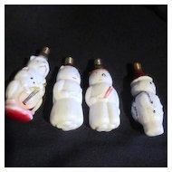 Set of 4 Vintage Milk Glass Christmas Light Bulbs