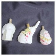 Set of 3 Milk Glass Circus Christmas Light-bulbs