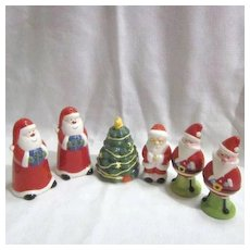 3 Sets of Christmas Santa Claus Salt & Pepper Shakers