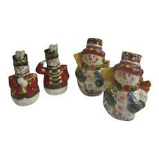 2 Sets of Happy Christmas Snowmen Salt & Pepper Shakers