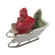 Plastic Candy Container Santa in Sleigh with Tree from 1950's