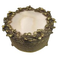 Gold Tone Mesh Filigree Casket Jar with Roses and Faux Mother of Pearl Top