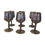 Set of 6 Mother of Pearl Cordial Stemmed Goblets