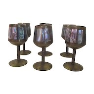 Set of 6 Mother of Pearl Cordial Stemmed Goblets