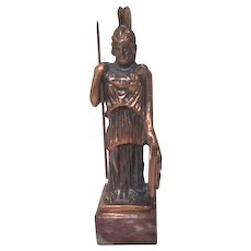 Solid Copper Spartan Soldier with Spear and Shield Paper Weight