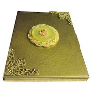 Vintage Brass Lady's Cigarette Case with Filagree Corners and Medallion Center