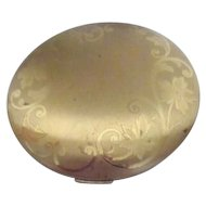 Large Elgin American Goldtone Compact with Flower Design