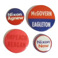 4 Assorted Political Pins: Nixon, McGovern, Reagan