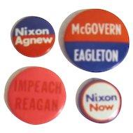 4 Assorted Political Pins: Nixon, McGovern, Reagan