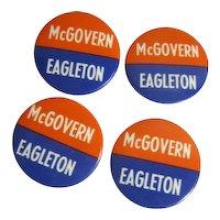 "Four 1 3/4"" McGovern Eagleton Political Pins"