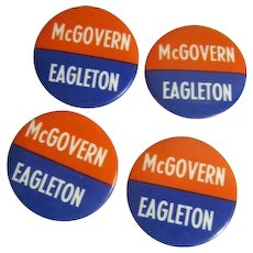 "Four 1 3/4"" McGovern Eagleton Political Pins"
