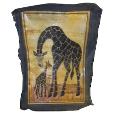 Mother and Child Giraffe Picture Shaved Wood on Cloth