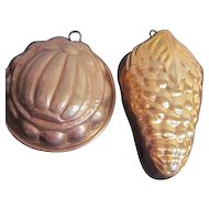 Pair of Copper Exterior Hanging Fruit Shaped Molds