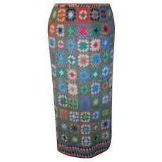 Hand Crocheted Long Skirt Granny Squares Rayon Thread