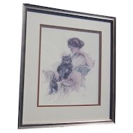 Framed Harrison Fisher Print of Young Woman with Cat