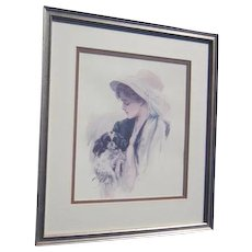 Framed Harrison Fisher Print of Young Woman with Dog