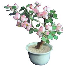 """Small Glass Flowers & Leaves """"Jade"""" Tree in Celedon Bowl"""