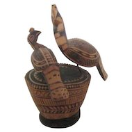 Wood Carving of Two Birds on Carved Base