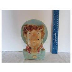 Vintage Royal Copley Porcelain Pottery  Girl Head Vase