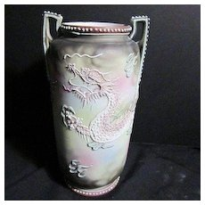 Vintage Ceramic Japanese Slip Work Dragon Vase