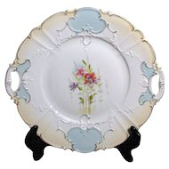 Porcelain Platter with Pierced Handles and Flowers in Center
