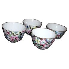 Set of 4 Asian Tea Cups Decorated in Hong Kong
