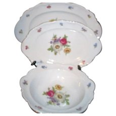 Set of Three Mitterteich Bavarian Meissen Floral Serving Pieces from Germany