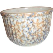 Spongeware Green and Orange 7 Cup Sized Pottery Bowl